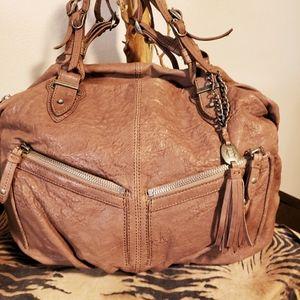 OLIVIA HARRIS-Dist. BRN Mauve Leather Satchel-NEW